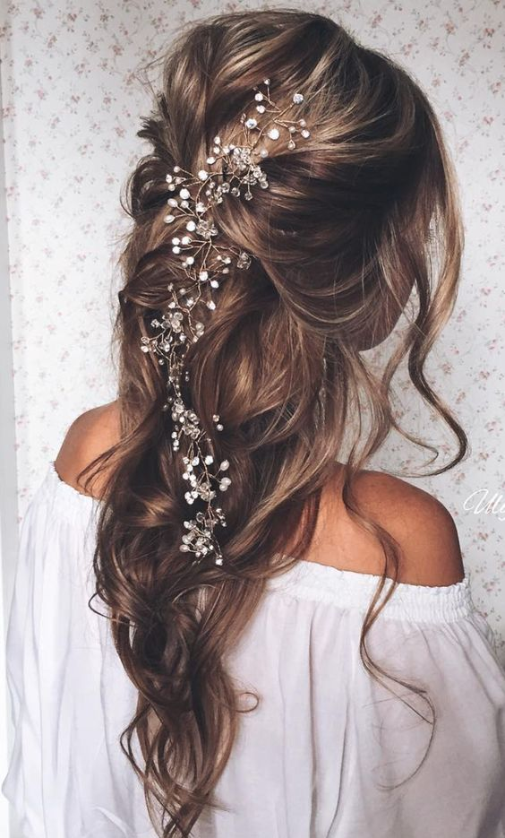 Side Swept Hair Half Up Half Down Bridal Hairstyles