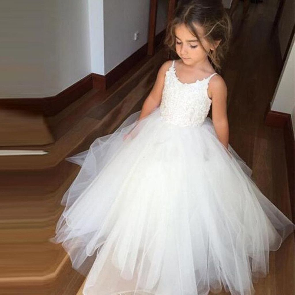 Spaghetti Lace Top Ivory Tulle Flower Girl Dresses