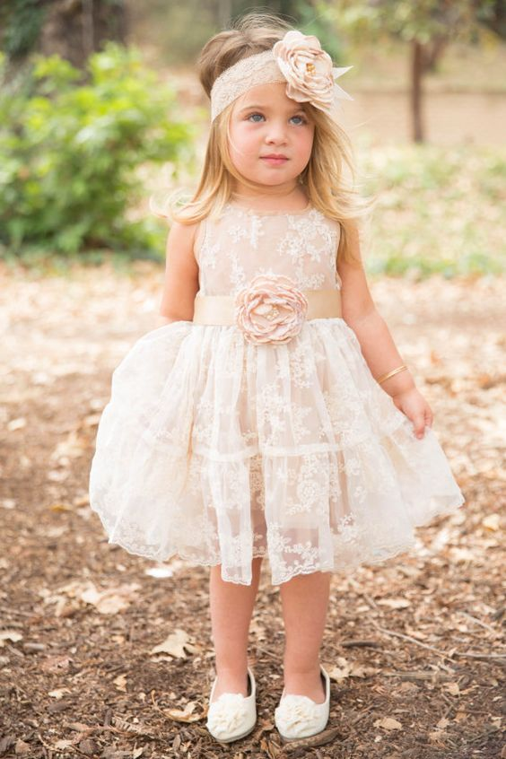 lace flower girl dresses blush illusion sleeves with bow