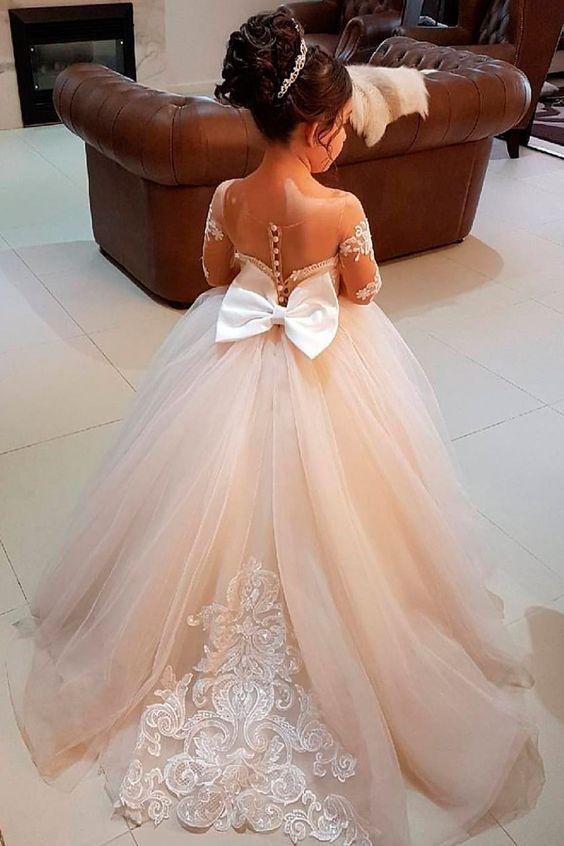 Flower Girl White Lace Dress by Bubale