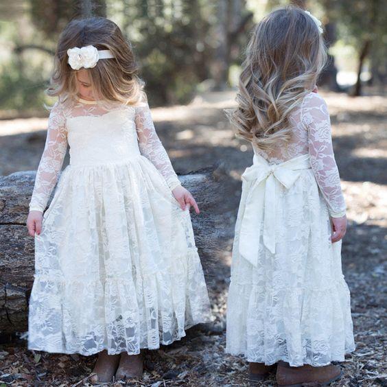 White Lace Boho Rustic Flower Girl Dress