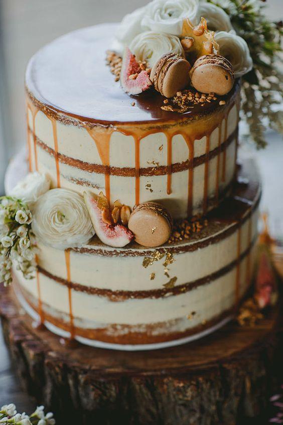Five Tier Semi-Naked Wedding Cake with Ruffles, Macarons