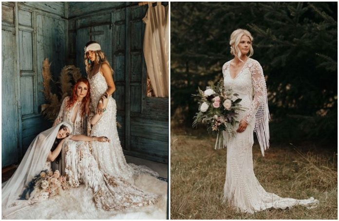 Fringe Wedding Dresses for Bohemian Brides