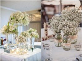 Rustic Baby's Breath Wedding Centerpiece Decorations Ideas