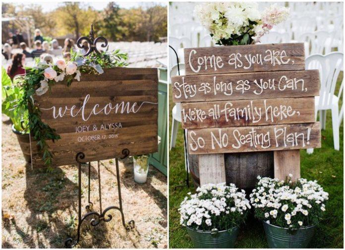 Rustic Budget-Friendly Wedding Signs Ideas