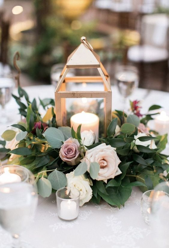 16 Trendy Greenery Wedding Centerpieces With Candles Chicwedd