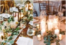 Greenery Wedding Centerpieces with Candles