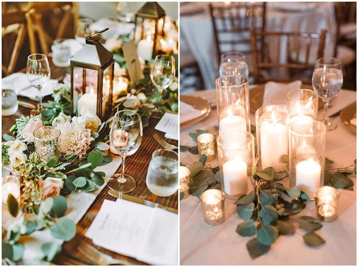 Trendy greenery wedding centerpieces with candles