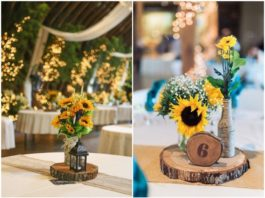 Rustic Sunflower Wedding Centerpiece Ideas for Summer and Fall Weddings