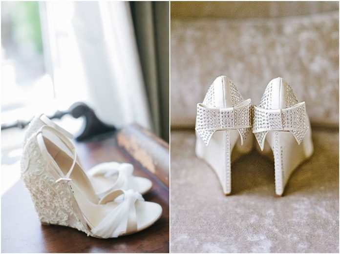 White Wedge Wedding Shoes with Brilliant Details