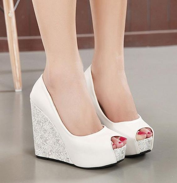16 White Wedge Wedding Shoes With Brilliant Details Chicwedd