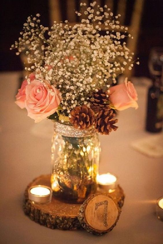 Rustic fall wedding centerpices with baby's breath