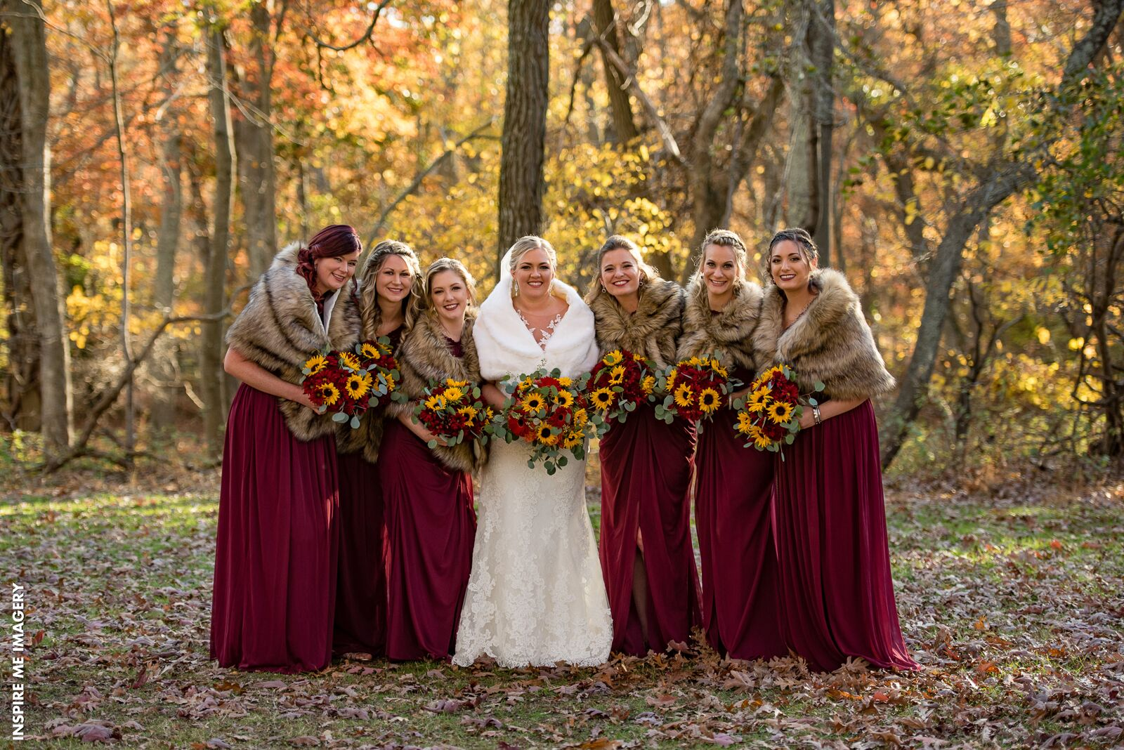 Bold Fall Wedding Colors bride and bridesmaids