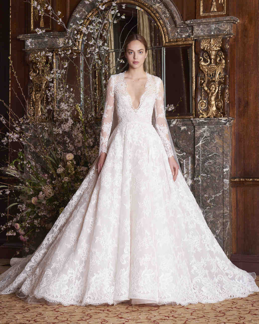 3788d21d9f0f Monique Lhuillier Wedding Dress Spring 2019 V-Neck Long Sleeve