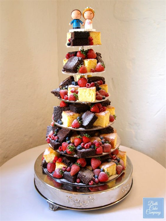 Brownie and Lemon Drizzle Wedding Tower