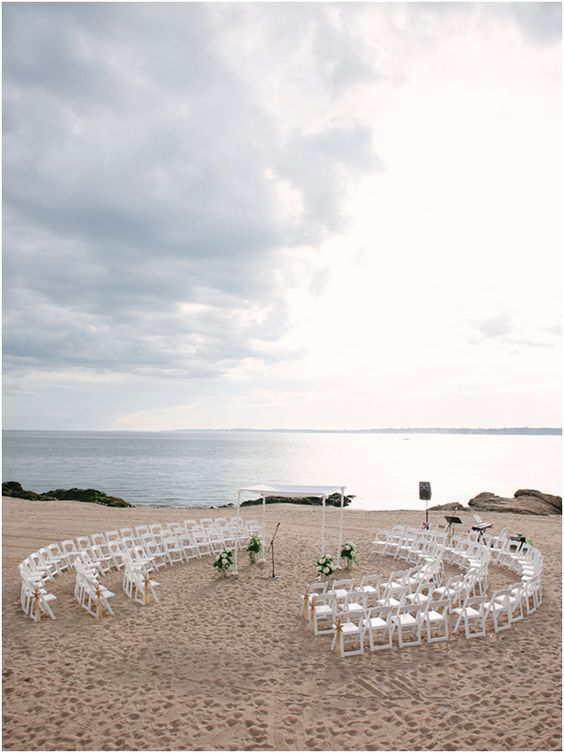 Ceremony set up in circle on beach