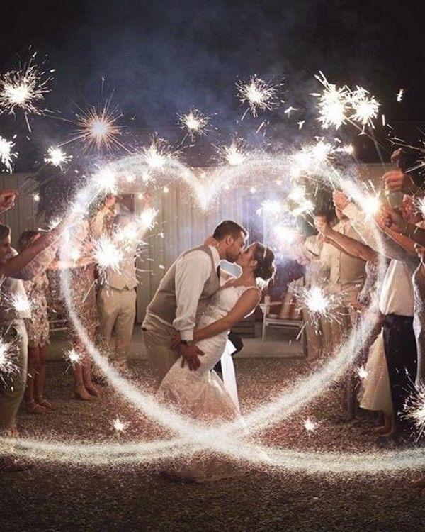 Romantic Wedding Photos with Sparklers