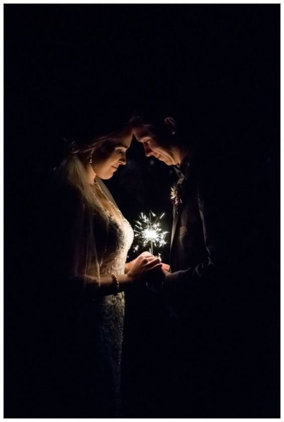 Romantic Wedding Photos with Sparklers