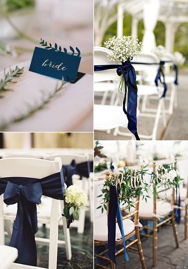 Brilliant Navy Blue and Greenery Wedding Color Ideas