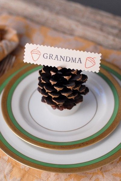 Diy Neon Pine Cone Place Card Holders